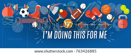 Set of sport balls and gaming items at a blue background. Healthy lifestyle tools, elements. Vector Illustration. #763426885
