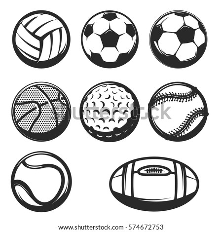 Set of sport balls icons. ball set for soccer and tennis, rugby. Basketball and football balls illustration. Design elements for logo, label, emblem, sign, brand mark. Vector illustration.