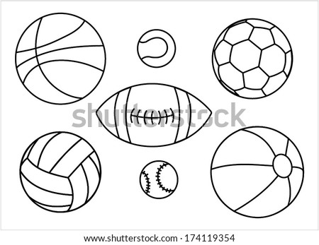 Set of sport balls outline - basketball ball, tennis ball, football ball, rugby ball, volleyball ball, baseball ball, vector art image illustration, isolated on white background eps10