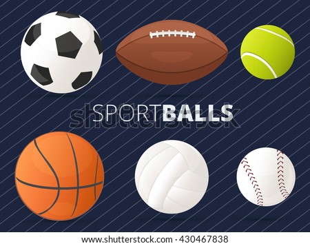set of sport balls with
