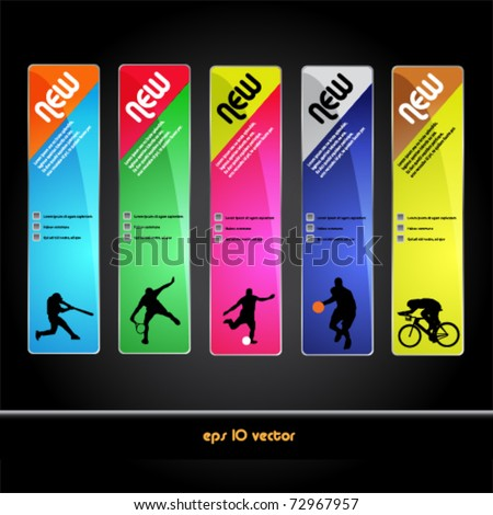 set of sport banner and tag