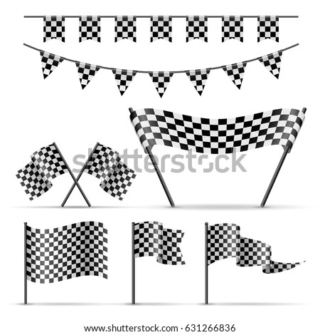 set of sport checkered flags