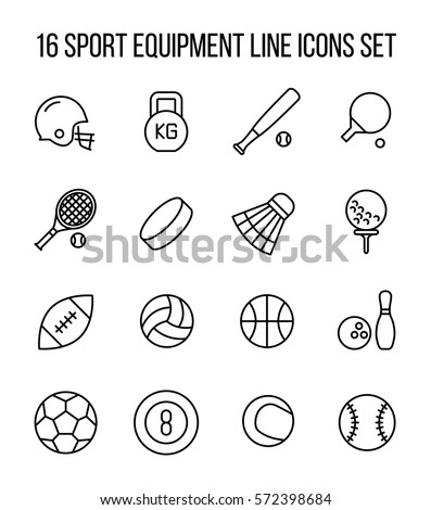 set of sport equipment icons in