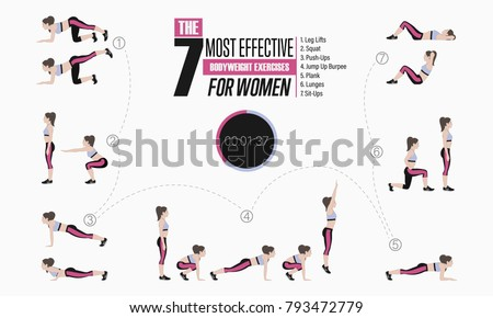Set of sport exercises. Exercises with free weight. Leg lifts, Squats, Push-Ups, Burpee, Plank, Lunges, Sit-Ups. Illustration of an active lifestyle Vector