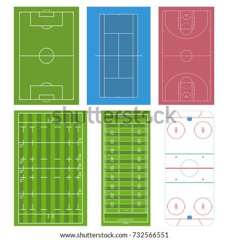 set of sport field football or