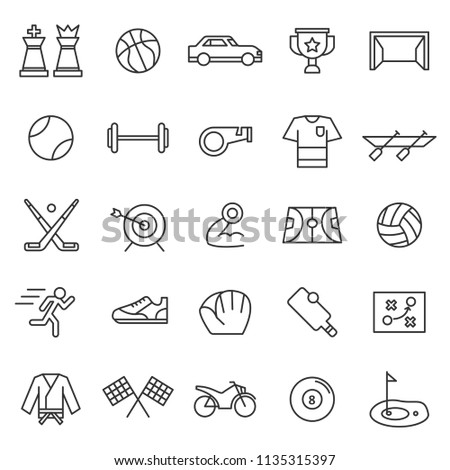 set of sport games icon with modern concept and simple outline, editable stroke, use for championship website, racing, league