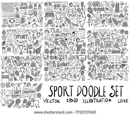 Set of Sport Hand drawn doodle Sketch line vector scribble