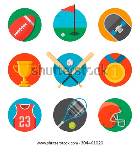 set of sport icons. flat style vector illustration. football helmet and ball, golf field, skateboard, trophy cup, baseball bats and ball, golden medal, basketball jersey, tennis racket and ball