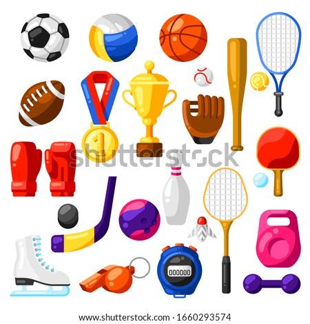 Set of sport icons. Stylized athletic equipment illustration.