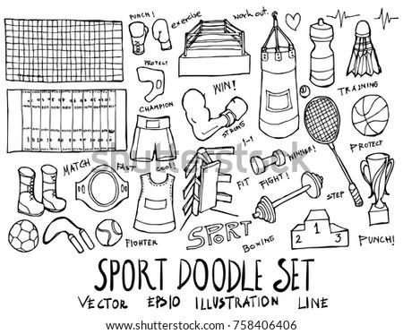 Set of Sport illustration Hand drawn doodle Sketch line vector