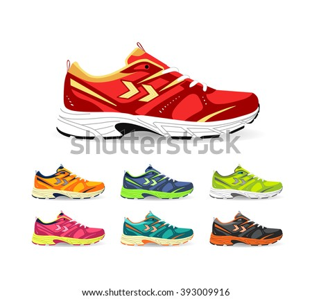 Set of sport shoes. Sneaker. Shoes for running. vector