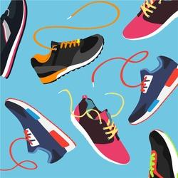 Set of sport shoes. Sneaker. vector