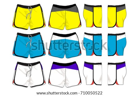 set of sport shorts template