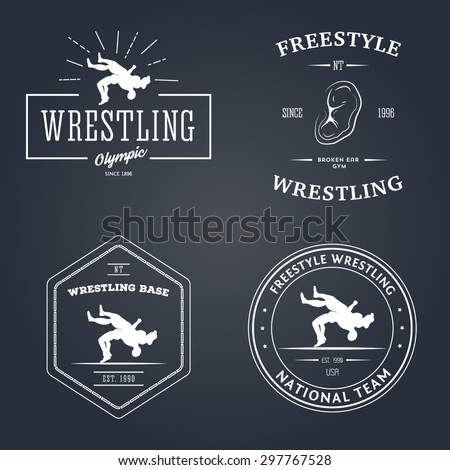 Set of sport signs. Wrestling theme. Templates for your gym, club, design.
