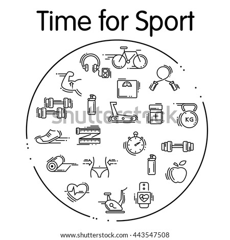 Set of sport thin line icons. icon  for web and mobile.