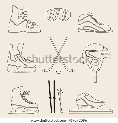set of sporting icons, skates, ski boots, skis, hockey helmet, ski goggles, vector illustration #769072096