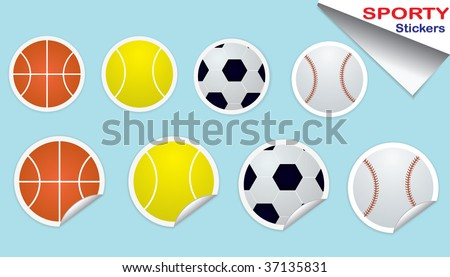 Set of Sports Ball Stickers