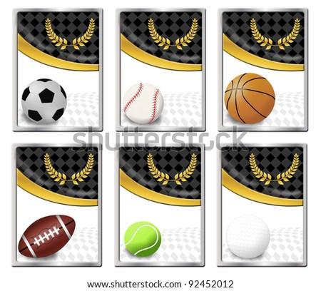 Set of sports balls banners or web icon, vector illustration