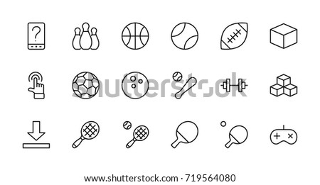 Set of sports balls, hobbies, entertainment vector line icons. It contains symbols of football, basketball, bowling, tennis and much more. Editable move. 32x32 pixels.