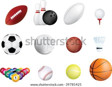 set of sports balls icon on white background