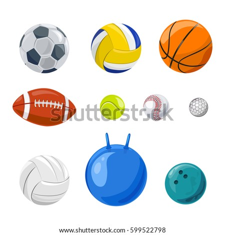 set of sports balls isolated