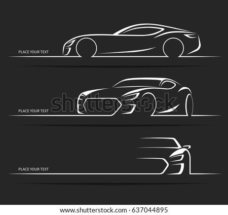 set of sports car silhouettes