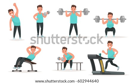 Set of sports character. The man in the gym is warming up and doing exercises on the simulators and with dumbbells and a barbell. Vector illustration in a flat style