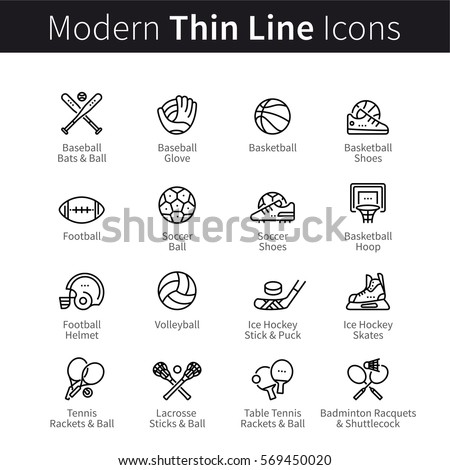 Set of sports equipment. Baseball, football, soccer and other. Balls, helmets gloves & rackets. Thin black line art icons. Linear style illustrations isolated on white.