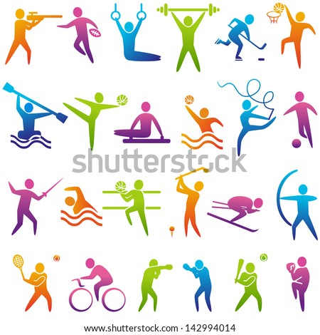Set of sports icons: basketball, soccer, hockey, tennis, boxing, wrestling, golf, baseball, rugby, American football, canoeing, barbell, weightlifting, water polo,  volleyball. Vector illustration