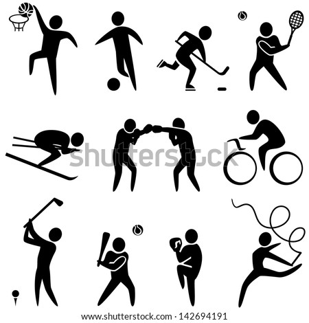 Set of sports icons basketball soccer hockey tennis skiing boxing wrestling cycling golf baseball gymnastics Vector illustration