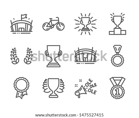 Set of Sports icons, such as Arena stadium, Award cup, Arena, Best rank, Bicycle, Winner podium, Winner, Ole chant, Medal, Laurel wreath, Success, Trophy line icons. Sport complex, Trophy. Vector
