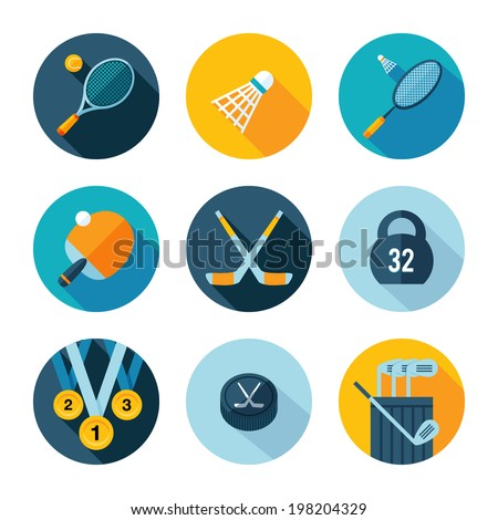 Set of sports icons. Vector sport equipment in flat modern style.
