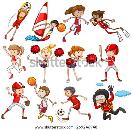 Set of sports in red theme
