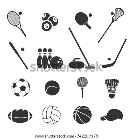 set of sports inventory black