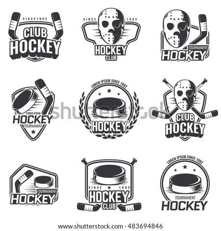 set of sports logos for hockey.