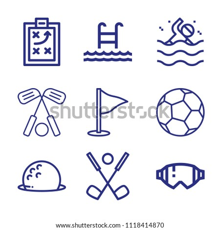 Set of 9 sports outline icons such as football, glasses, golf, swimmer, swim