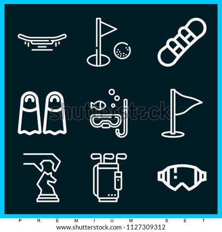 Set of 9 sports outline icons such as glasses, golf, strategy, snowboard, skateboard, diving mask