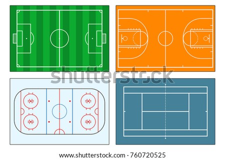 Set of sports play-fields. Soccer (football) field, tennis and basketball courts, ice hockey rink. Mockup background for sport strategy and tactics. Vector illustrator.