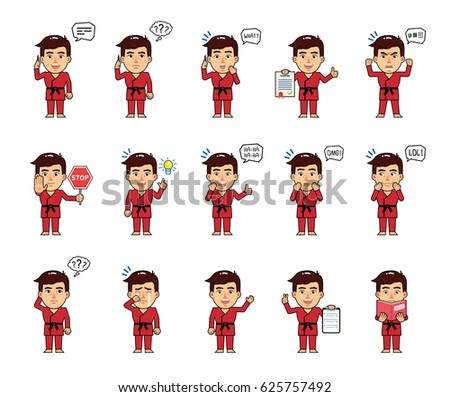 set of sportsman characters in