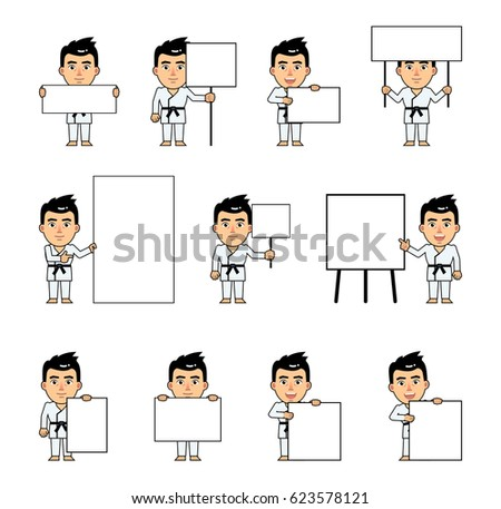 Set of sportsman characters in white kimono posing with various blank banners. Martial art expert holding paper, poster, placard, pointing to whiteboard. Teach, advertise. Simple vector illustration