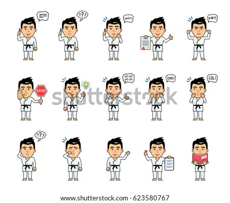 Set of sportsman characters in white kimono showing various actions, emotions. Martial art expert talking on phone, thinking, angry, reading a book and doing other actions. Simple vector illustration