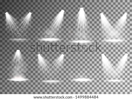 Set of spotlight. Transparent effect for your design. Light and smoke with stage. Vector