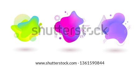 Set of spots with abstract elements for trendy green, purple and pink color design, vector illustration on isolated background. #1361590844