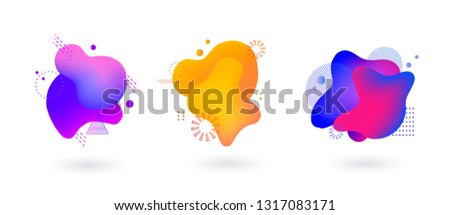 Set of spots with abstract memphis elements for trendy blue, yellow and pink color design, vector illustration on isolated background.