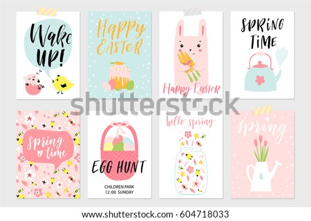 Easter gift tag cartoon free vector download free vector art set of spring and easter gift cards and posters with cute cartoon characters signs and negle Choice Image
