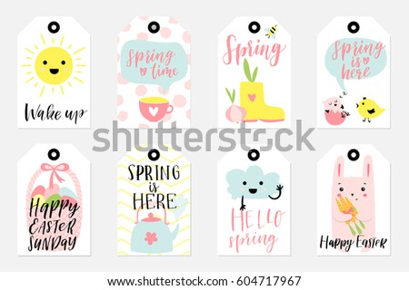 Doodle easter gift tag download free vector art stock graphics set of spring and easter gift tags and labels with cute cartoon characters signs and negle Choice Image