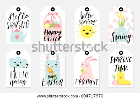 Easter gift tag vector collections download free vector art set of spring and easter gift tags and labels with cute cartoon characters signs and negle Images