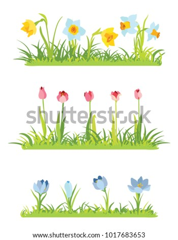 Set of spring april flowery borders for Easter decoration, Grass and narcissus border, tulips frame, crocus background #1017683653