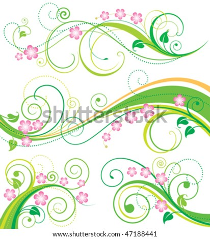 Set of spring floral ornament drawing. vector illustration layered.