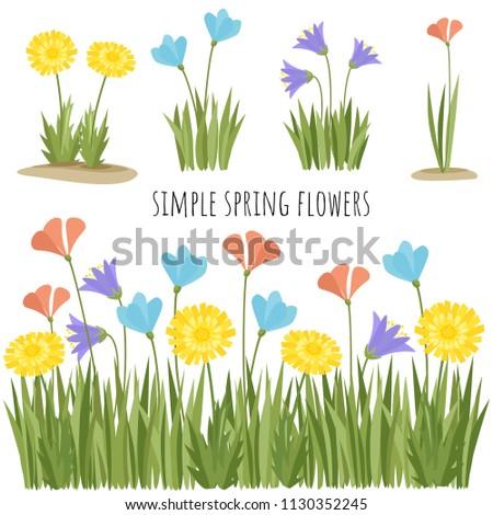 Set of spring simple flowers vector illustration #1130352245
